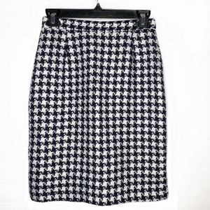 80 Vintage Pencil Skirt Houndstooth Blue & White -